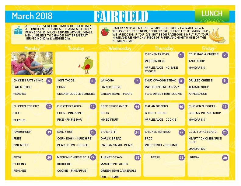 MARCH LUNCH MENU!